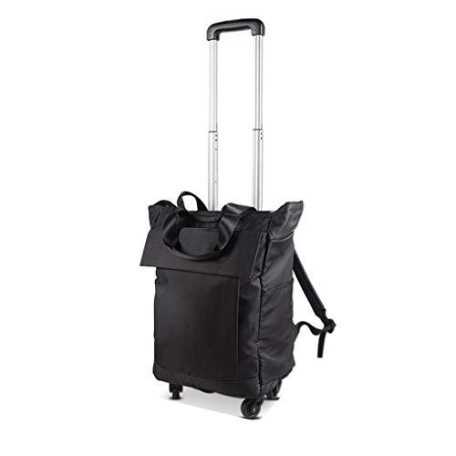 LYLSXY Trolleys,Universal Wheel Shopping Cart Travel Bag Unisex Large Capacity Waterproof Trolley Bag Boarding Box Trolley Luggage Bag,Black,Small