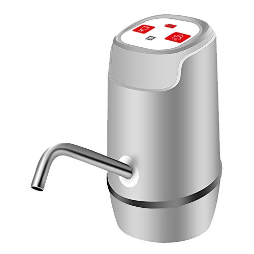 CLL WASSERFLASCHENPUMPE USB-Ladegerät, 5-Gallonen-Universalwasserflasche für den Außenbereich, Haushalt, Büro, Mineralwasserspender Vollautomatische Wasserpumpe, Silber