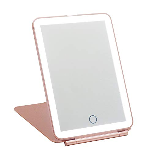 LED Travel Makeup Mirror, 3 Colour Light Rechargeable Portable Compact Vanity Mirror, Perfect for Travel, Makeup & Beauty Needs, Christmas Birthday Gift for Women,Valentines Gifts for Her