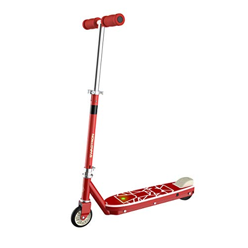 Swagtron SK1 Kick Start Electric Scooter for Kids with Extended Life Battery | ATSM Certified - Ages 5+ (Firetruck Red), Adjustable