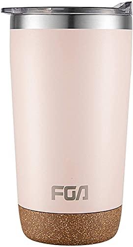 FGA Kaffeebecher Edelstahl Staubdicht Deckel Thermobecher Mug 500ml Isolierbecher BPA-frei Reisebecher für heiße und kalte Getränke Pink…