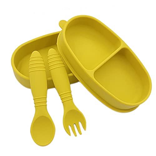 ROSEBEAR Plato dividido para bebé con tenedor de cuchara Set de plato de succión suave para auto alimentación
