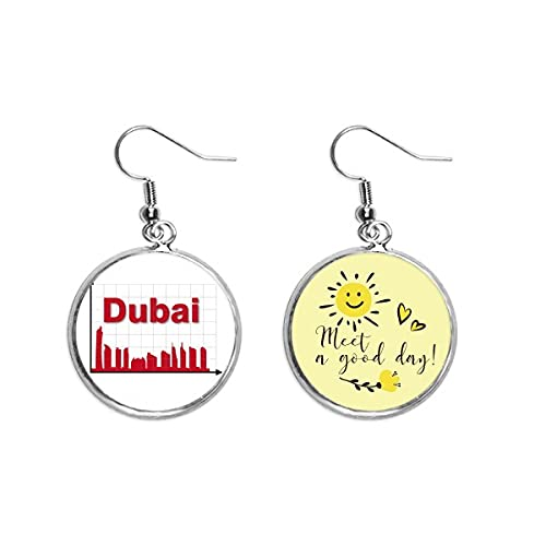 Urban Outline Axis Dubai Ear Drop Sun Flower Pendiente Joyería Moda