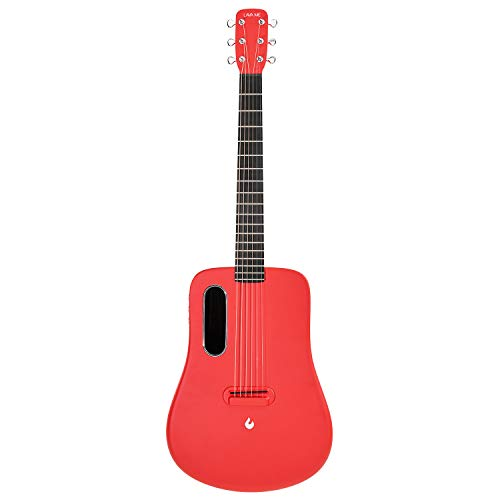 LAVA ME 2 Guitarra de fibra de carbon con efectos Guitarra Acústica Eléctrica de Viaje con bolsa Picks y Cable de carga (FreeBoost, Rojo, 36 Inch)