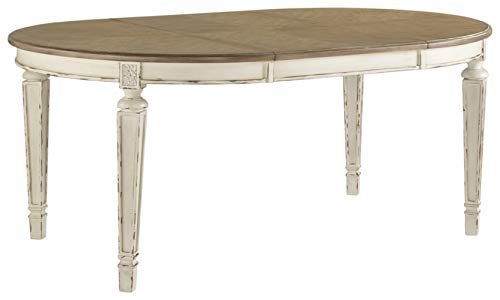 Signature Design By Ashley - Realyn Oval Dining Room Extention Table - Casual Style - Chipped White