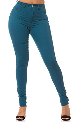 AP Blue Aphrodite High Waisted Jeans for Women - High Rise Waist Skinny Womens Jeans with Faux Front Pockets 4271 Teal 11