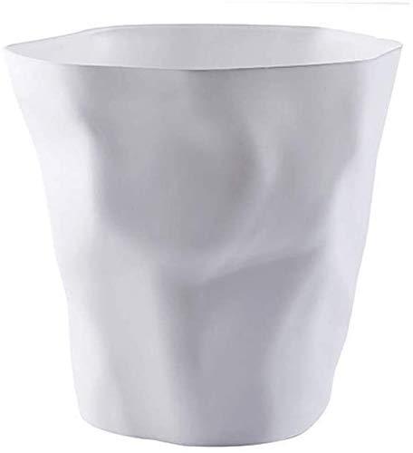 HEWEI afvalbak creatief woonkamer afvalemmer thuis keuken toilet kantoor grote Uncovered desktop-papiermand opslag emmer slaapkamer bloempot papieren manden (kleur: zwart) wit
