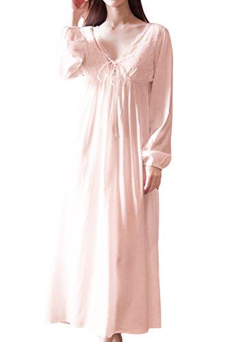 Asherbaby Damen Langarm Kurzarm Vintage Spitze V Ausschnitt Nachthemd Baumwolle Nachtwäsche - Pink - Medium/Etikettengröße Large
