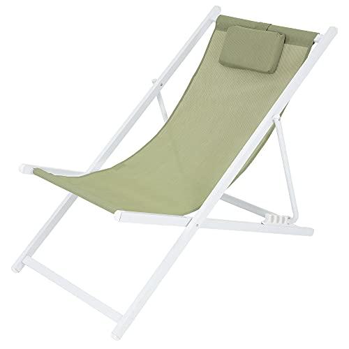 ECD Germany Silla de Playa Aluminio 4 Posiciones de Reclinación Plegable Tumbona Tradicional de Sol para Jardín o Balcón Blanco Verde con Almohada Cómoda Tejido de Poliéster para Terraza Piscina