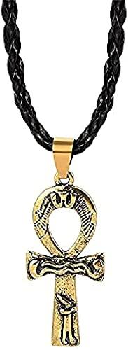 NC190 Collar con Colgante de Cruz egipcia de Color Bronce Antiguo para Hombres y Mujeres, joyería de Cadena de Cuerda con jeroglíficos egipcios ragze
