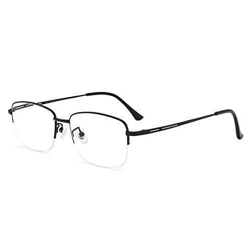 HQMGLASSES Gafas de Lectura Anti-Azul de Titanio Ultraligero de los Hombres, 1.56 índice de refracción Lente de Resina asférica antifatiga Diopter +1.0 a +3.0,Negro,+3.0