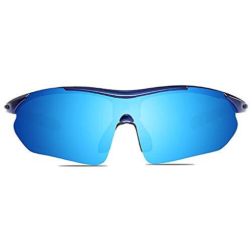 KK Zachary Gafas de sol para ciclismo al aire libre, material de PC, UV400, colores azul/blanco, hombres y mujeres con el mismo medio marco gafas de sol (color: azul)
