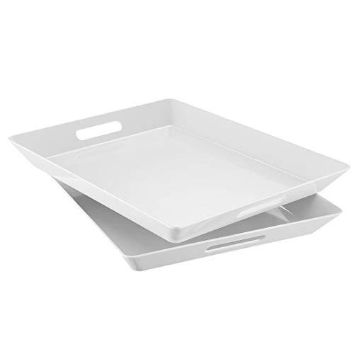 i BKGOO Foodservice Juego de 2 bandejas de plástico para servir de melamina rectangular grandes para fiestas, mesa de café, cocina (tamaño 39,4 x 31 x 4,1 cm)