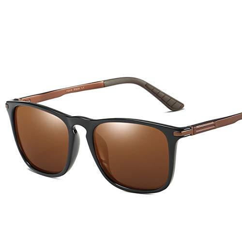 MIMIOOORE Hombre en Gafas de Sol polarizadas UV400 Protección de conducción Ciclismo Running Pesca Golf Simple Cuadrado Forma de Marco Completo Duradero (Color : Brown)