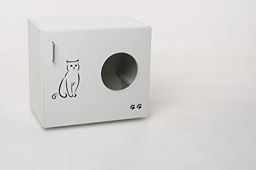 Hermes24 Katzentoilette Katzenhöhle Holz Weiß Matt Feline Deluxe mit Liegekissen KLOFELLK B/T/H 60 x 41 x 53,5 cm Katzenhaus Katzenschrank