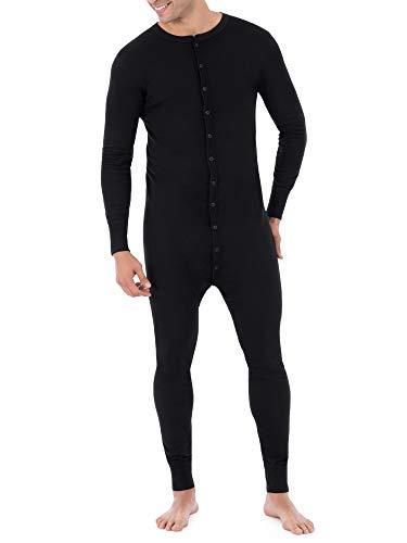 Fruit of the Loom Men's Premium Thermal Union Suit, Black, Medium