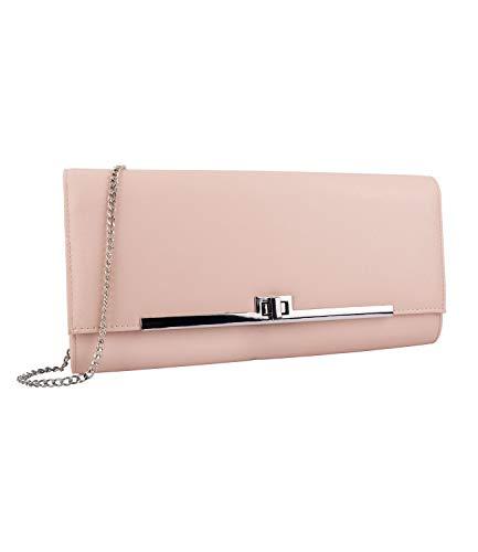 SIX Damen Handtasche, Clutch, Umhängetasche, Kettendetails, Silber, Nude, beige (726-560)