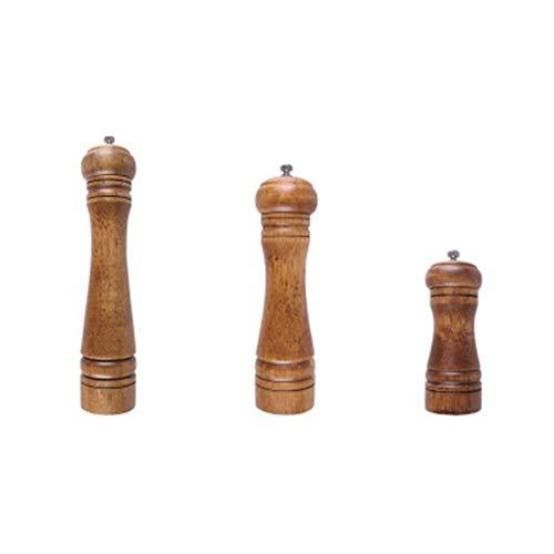 GTJXEY Salz- und Pfeffermühlen, Eiche Holz Keramik Rotor Starker Adjustable Grobkörnigkeit, Restaurant Hotels Home Use [Set von 3]