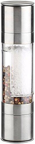 Rosenstein & Söhne Küchenhelfer: Manuelle 2in1-Salz-und Pfeffermühle mit 2 Keramik-Mahlwerken, 22 cm (Kombinierte Salz und Pfeffermühle)