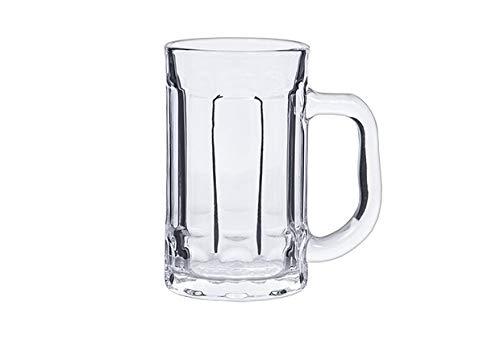 takestop® Juego de 3 vasos de cerveza de cristal transparente con mango, 380 ml, 13,5 x 11,5 x 7,7 cm