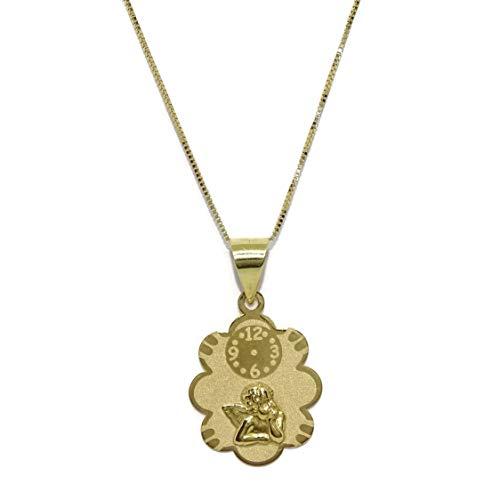 Never Say Never Colgante para bebé de Oro Amarillo de 18k con Nube, Reloj y Angelito con Cadena Veneciana de Oro Amarillo de 18k y 40cm de Larga