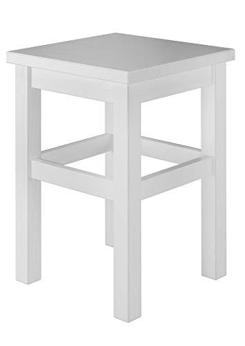 Erst-Holz® Holzhocker Massivholzsitz ohne Lehne in Kiefer massiv oder weiß V-90.71-41, Holzart/Holzfarbe:Kiefer weiß
