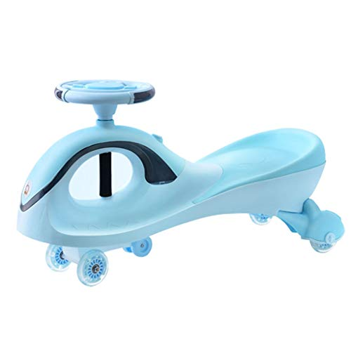 Best Review Of Scooters Tricycles Twist car Children's Walker Balance Bike Bearing 100kg 1-3 Years Old Magnetic Flash Wheel Music Light Toy Gift (Color : Blue, Size : 834530cm)