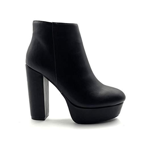 Angkorly - Damen Schuhe Stiefeletten - Sexy - Biker - glamourös - Basic - Basic Blockabsatz high...