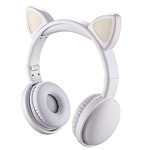 IPOTCH Auriculares de Gato con micrófono Ajustable Incorporado Bluetooth 5,0 sobre el oído, Auriculares Plegables Luminosos inalámbricos para Adultos, niñas, Negro