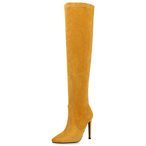 SCARPE VITA Damen Stiefel Overknees Stiletto High Heels Boots Wildleder-Optik Schuhe Elegante Absatzschuhe Langschaftstiefel 187560 Gelb 38