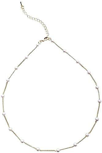 AOAOTOTQ Co.,ltd Halskette Einfaches Temperament Überall am Himmel Stern Perle Halskette Mädchen Süße Mori Super Fee Mädchen Schlüsselbeinkette Halskette