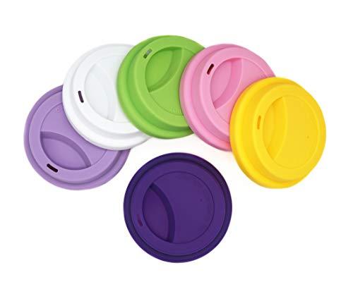 Getränkedeckel aus Silikon, auslaufsicherer Deckel für Getränkebecher, wiederverwendbar, Deckel für Kaffeebecher, 6 Stück sortiert