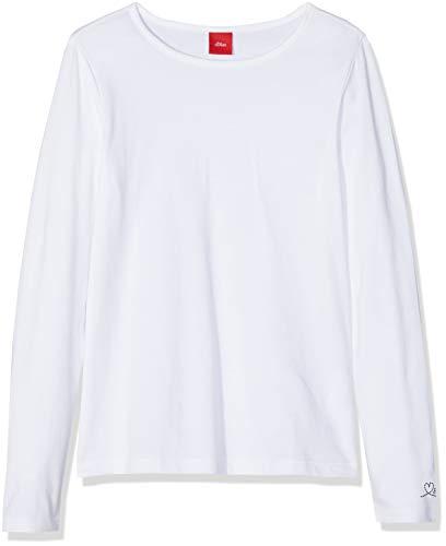 s.Oliver Junior Mädchen 54.899.31.0464 Regular Fit Langarmshirt,  Weiß (White 0100),  116/122 cm(Herstellungsgröße:6-7 Jahre)