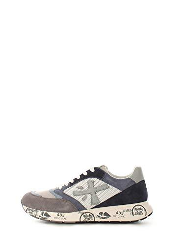 Premiata scarpa sneaker sportiva da uomo grigio/azzurro/blu, ZACZAC 4613