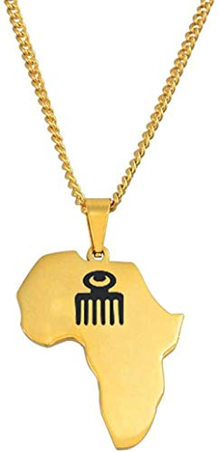 quanjiafu Necklace Gold Color Africa Map with Ghanaian Symbol Pendant Necklaces for Women Men Stainless Steel African Maps Jewelry 60Cm