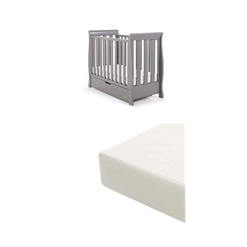 Obaby Stamford Sleigh Space Saver Cot and Foam Mattress - Taupe Grey