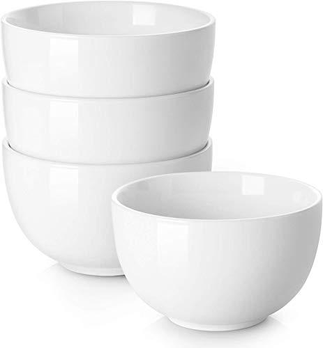 DOWAN Porzellan Müslischalen, 880ml Porzellan Große Schüssel für Suppe, Müsli, Pasta, Reis, Nudeln, Ramen, 4er Set, Weiß