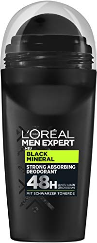 L'Oréal Men Expert Deo Roll-On, Black Mineral 6er Vorratspack, schwarze Tonerde absorbierender Schutz gegen Gerüche ohne Aluminiumsalze (6 x 50 ml)