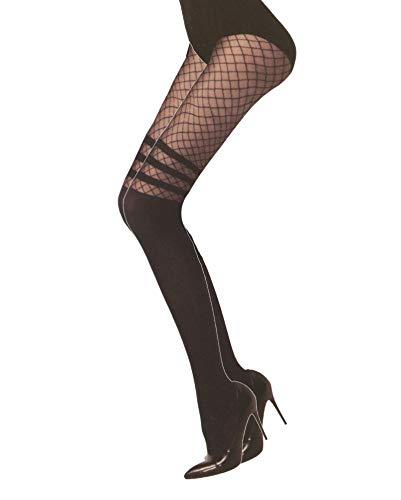 Jay-Fashionbox Damen Strumpfhose in Overknee Look 180 DEN mit Streifen und Netz OptikSchwarz