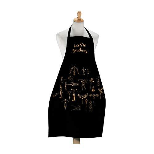 Winkler - Tablier de cuisine - Tablier de cuisine réglable - Tablier pour la cuisine - Tablier barbecue - Tablier 100% Coton - 72 x 96 - Noir - Les Tire-bouchons