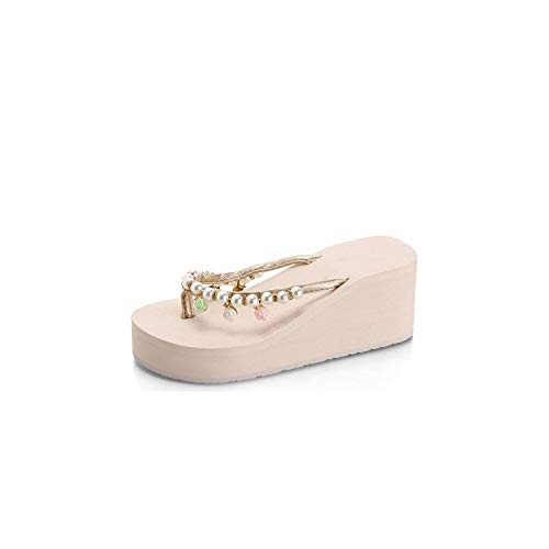 Sandals Pearl Flower New Women Sandals Fashion Summer Sandals Wedges Flip Flops Platform Slippers Shoes 35-40 Soft Shoes,Beige,6