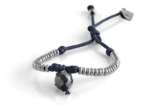nubu Pulsera de plata 925 con diamante y cordón colgante | Mujer y Hombre | Pulsera de viaje artesanal | Hecho a mano en Italia turquesa