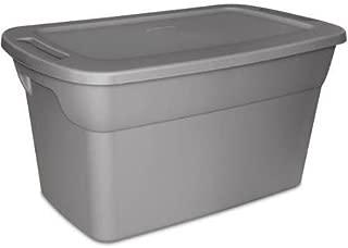 Sterilite 30 Gallon Tote Plastic Storage Box- Steel with Lid, Case of 6