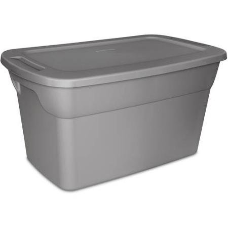 Sterilite 30 Gallon Tote Plastic Storage Box- Steel with Lid, Case of 6
