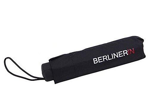 City Souvenir Shop Taschen-Regenschirm BERLINERIN, schwarz - der Mini-Schirm für die Tasche in Berlin
