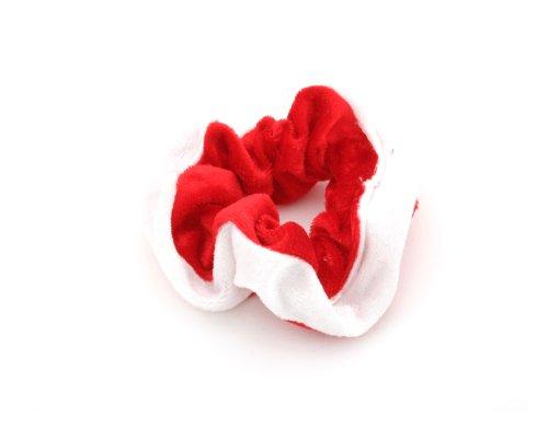 Red & White Velvety Hair Band Scrunchie by Zest by Zest