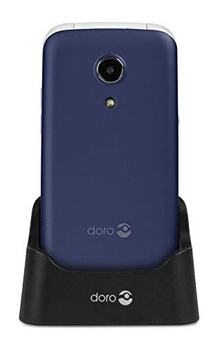 Doro 2414 Telefono Cellulare 2G a Conchiglia per Anziani con Fotocamera da 3 MP e Base per Ricarica (Blu) [Versione Italiana]