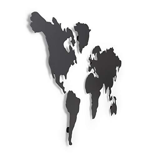 Umbra Mappit Wanddekoration, Magnetische Weltkarte mit 12 Magneten, Titan