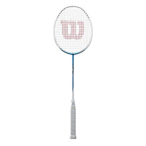 Wilson WR004510F4 Raquette de Badminton, Fierce C1700, Unisexe, Taille du Manche: 4, Équilibre Neutre,Blanc/Bleu