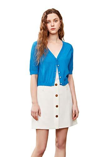 zhili dames Solid Button Down korte mouw Cropped Bolero vest trui (S-4X)